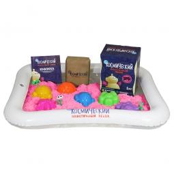 Космический песок Песочница+Формочки Розовый 1 кг(коробка)