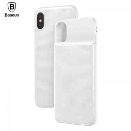Чехол для iPhone X + беспроводной аккумулятор с QI зарядкой BASEUS 5000 мАч белый