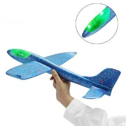 Самолет-планер с диодами из пенопласта метательный (большой) синий