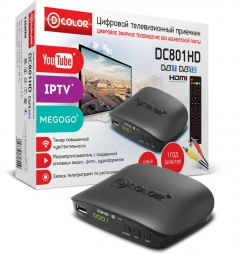 ТВ-тюнер/ресивер D-COLOR DC801HD, черный