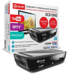 ТВ-тюнер/ресивер D-COLOR DC610HD, черный
