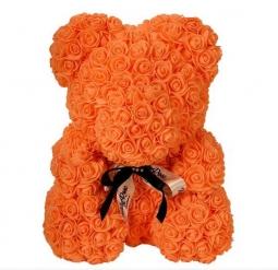 Мишка из роз оранжевый 40см + подарочная коробка