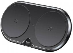 Беспроводное зарядное устройство Baseus Dual Wireless Charger metal Black на два устройства