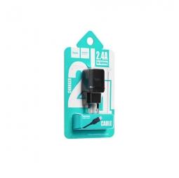Зарядное устройство Hoco C22A 2.4A + Lightning кабель Black