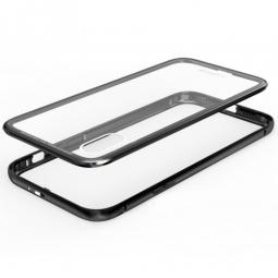 Двухкомпонентный металлический чехол бампер для Iphone X Black (Черный)