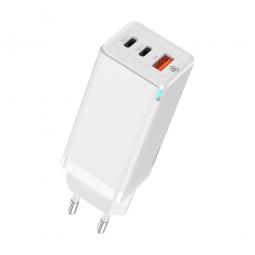 Сетевое зарядное устройство Baseus GaN2 Pro Quick Charger 2*C+U 65W EU White (CCGAN2P-B02)