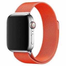 Металлический ремешок Milanese loop 42мм\ 44мм для Apple оранжевый
