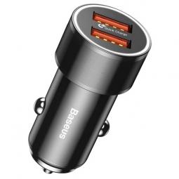 Автомобильное зарядное устройство быстрое QC 3.0 2xUSB Baseus Small Screw - Черное (CAXLD-B01)