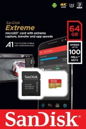 Карта памяти SanDisk Extreme Pro microSDHC Class 10 UHS Class 3 V30 A1 100MB/s 64GB + SD adapter