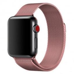 Металлический ремешок Milanese loop 42мм\ 44мм для Apple розовый