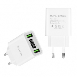 Сетевое зарядное устройство с дисплеем Hoco C25A на 2 USB, белое