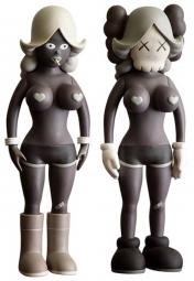 Виниловая кукла игрушка KAWS Read The Twins (Brown) 40см