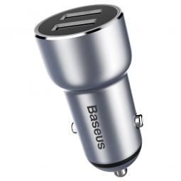 Автомобильное зарядное устройство Baseus Metal Car Charger 3.4A Silver (Серебристый)