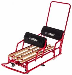 Детские санки-трансформер для двойни с колесиками и толкателем Small Rider Snow Twins 2 (красный)