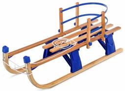 Детские складные деревянные санки со съемной спинкой Small Rider Fold Compact (синий)
