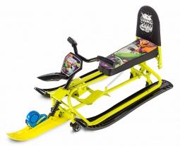 Детский снегокат-трансформер с колесиками и спинкой Small Rider Snow Comet 2 (лайм)