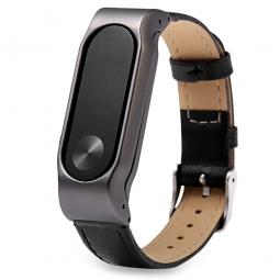 Ремешок кожаный для фитнес-браслета Xiaomi Mi Band 2 (черный)