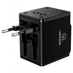 Сетевое зарядное устройство Usams 4-in-1 Dual USB Travel Wall Charger Power black