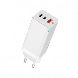 Сетевое зарядное устройство быстрое PD 3.0+QC 4+ USB+2xUSB Type-C Baseus GaN Quick Travel Charger 65W - Белый (CCGAN-B01)