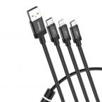 Кабель Baseus Data Faction 3-in-1 USB 3.5 A 120см (Black)
