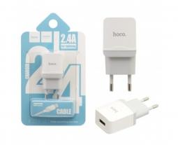Зарядное устройство Hoco C22A 2.4A + Lightning кабель White
