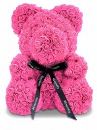 Мишка из роз розовый 25см + подарочная коробка