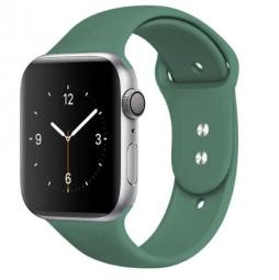 Силиконовый ремешок для Apple Watch 44/42 mm, темно зеленый