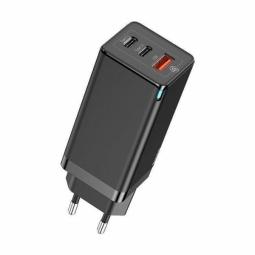 Сетевое зарядное устройство быстрое PD 3.0+QC 4+ USB+2xUSB Type-C Baseus GaN Quick Travel Charger 65W - Черный (CCGAN-B01)