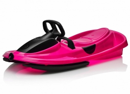 Детские пластиковые санки-снегокат c рулем и тормозом Gismo Riders Stratos (Чехия) (черно-розовый)