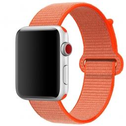 Нейлоновый ремешок на липучке для Apple Watch 42/44 mm коралловый
