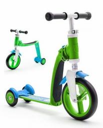 Трехколесный самокат-беговел (трансформер) Scoot&Ride Highway Baby Plus (зелено-голубой)