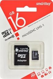Карта памяти micro SDHC 16Gb SmartBuy Class 10 UHS-I + адаптер