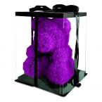 Мишка из роз фиолетовый 40см + подарочная коробка