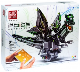 Электромеханический радиоуправляемый конструктор Mould King 13029 дракон чёрный, робот с ДУ APP