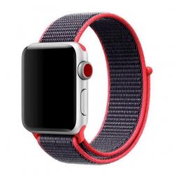 Нейлоновый ремешок на липучке для Apple Watch 42/44 mm коралловый с серой полосой
