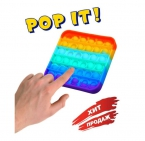 Pop it Игрушка Антистресс / вечная пупырка/ pop it радужный квадрат