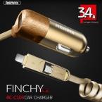 Автомобильное Зарядное Устройство Remax в прикуриватель + кабель microUSB+ Ligthning