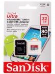 Карта памяти SanDisk Ultra microSDHS Class 10 UHS-I 80MB/s 32GB
