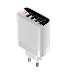 Сетевое зарядное устройство 4xUSB Baseus Mirror Lake Digital Display 30W - Белое (CCJMHB-B02)