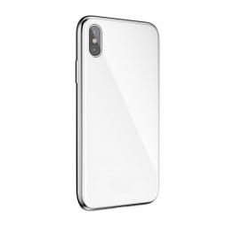 Двухкомпонентный металлический чехол бампер для Iphone X White (Белый)