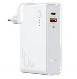 Сетевое зарядное устройство - внешний аккумулятор Baseus Power Station (GaN) 2 in 1 Quick Charge Power bank & Charger C+U 10000mAh 45W EU White